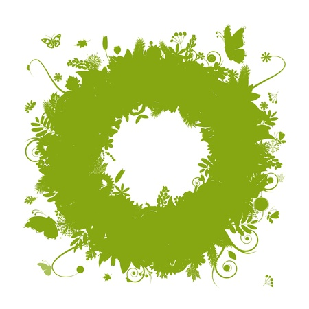 Abstract green wreath for your design Vector