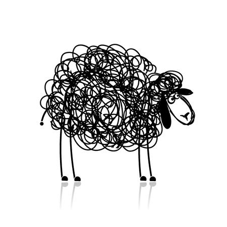 zwart schaap: Grappige zwarte schapen, schets voor uw ontwerp