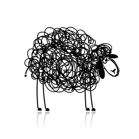 and sheep: Ovejas divertidas negro, bosquejo para su diseño