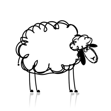 lamb: Divertente bianco pecore, schizzo per il vostro disegno Vettoriali