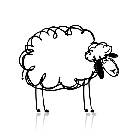 cartoon sheep: Funny white sheep, sketch for your design Illustration