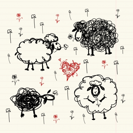 oveja: Sheeps divertidos en prado, bosquejo para su dise�o