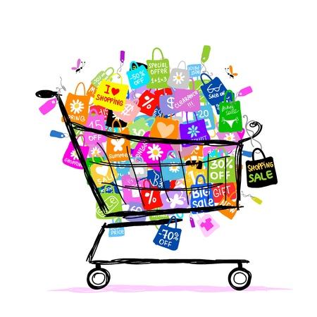fashion shopping: Concepto de la venta grande con bolsas de la compra en la cesta para su dise�o