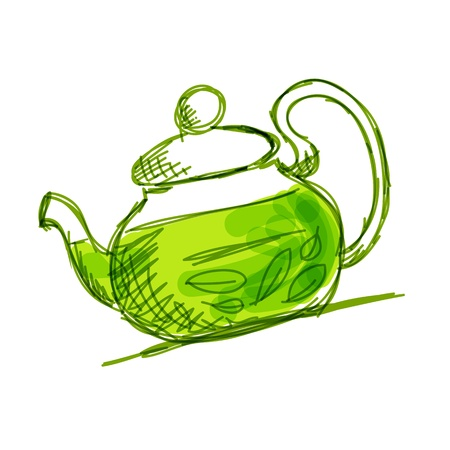 green tea leaves: Teapot sketch with green tea for your design
