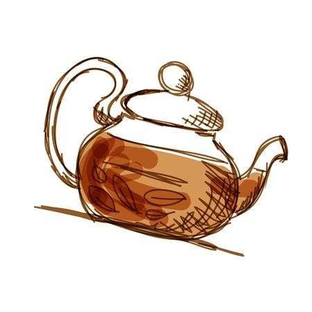 tea leaf: Teapot sketch with green tea for your design