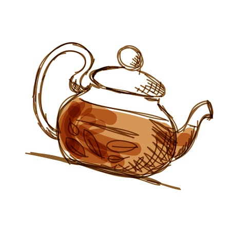 Theepot schets met groene thee voor uw ontwerp
