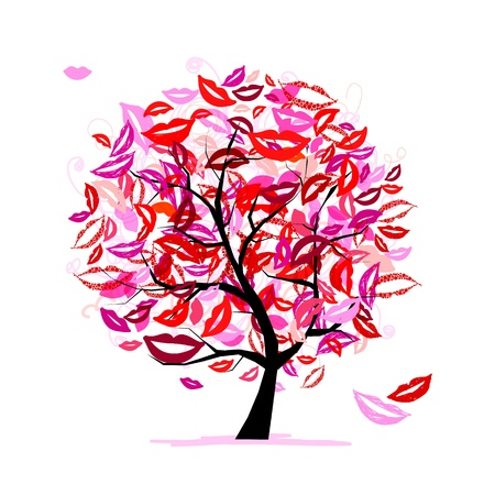 Tree of kisses with lips and smiles for your design Vector