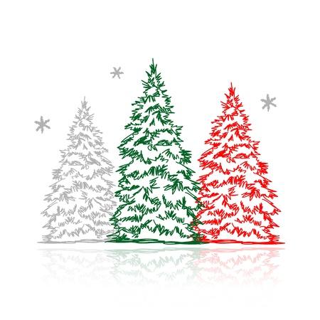 arbre     ? � feuillage persistant: Arbres dessin�s de main d'hiver pour votre design Illustration