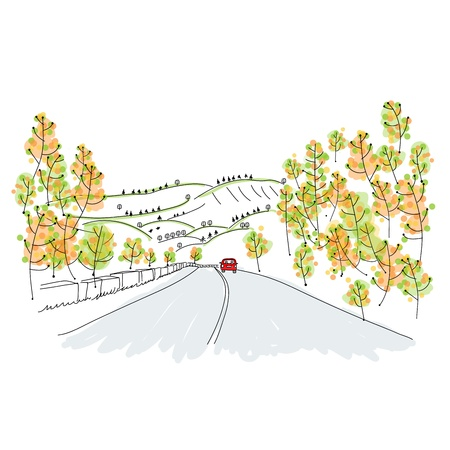 autumn road: Red car on country road, sketch for your design