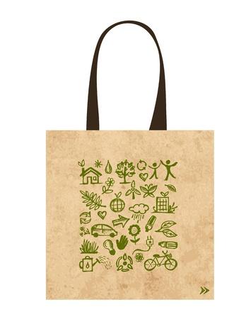 Papieren zakken met groene ecologische iconen ontwerp