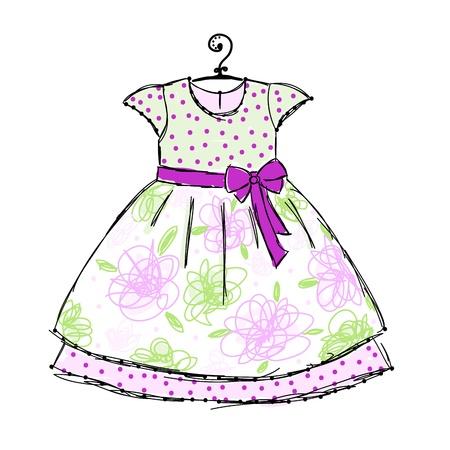 ropa colgada: Bebé vestido en perchas para su diseño