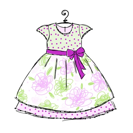 petite fille avec robe: Robe de bébé sur des cintres pour votre design Illustration