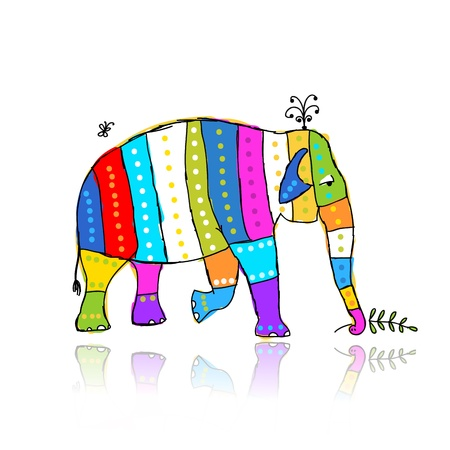 Funny  striped elephant for your design Vector