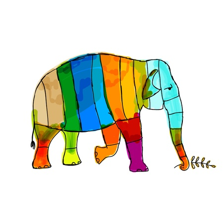 painted image: Funny  striped elephant for your design