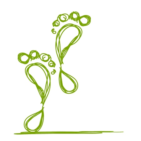 plantar: Skizze der gr�nen Fu�abdruck f�r Ihr Design Illustration
