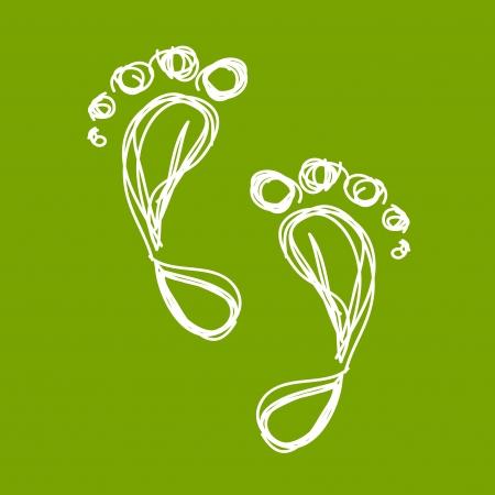 footprint: Croquis de la huella verde para su dise�o