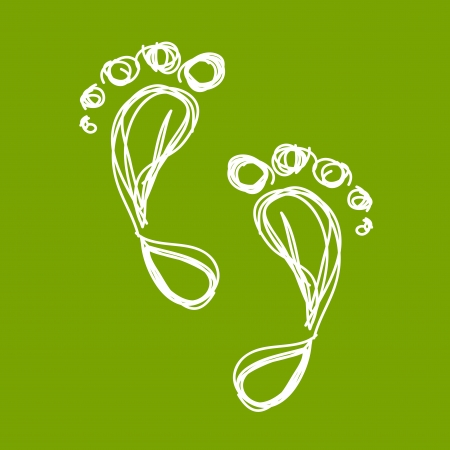 reflexology: Sketch of green footprint for your design