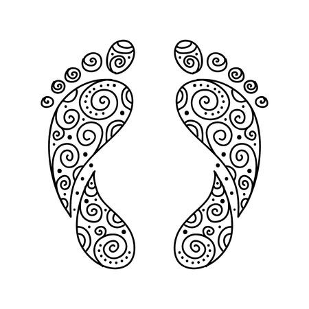 reflexologie plantaire: Empreinte d'ornement pour votre conception
