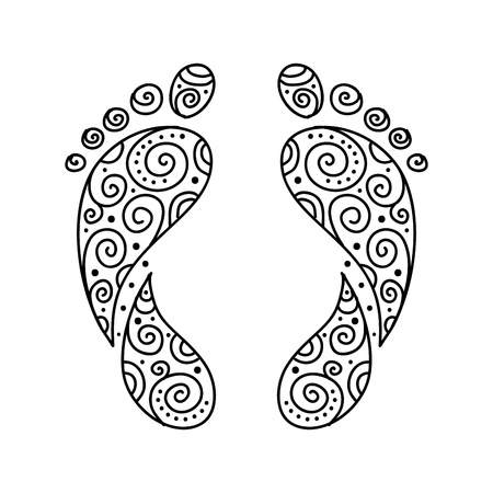 feet care: Ornamental footprint for your design Illustration