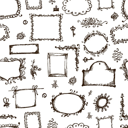 picture frame: Seamless pattern with picture frames for your design Illustration