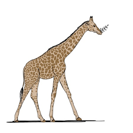 Funny giraffe, sketch for your design Vector
