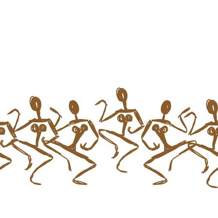 ilustraciones africanas: Dibujo antiguo baile, patrón de fondo sin fisuras para su diseño