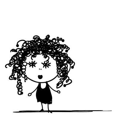 frizzy: Cute girl with frizzy hair for your design
