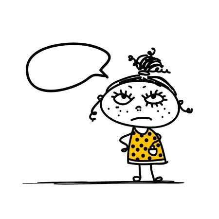persona enojada: Bosquejo chica divertida para su diseño