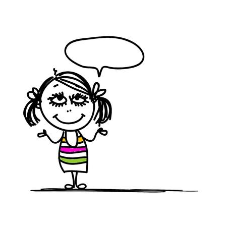 girl sketch: Funny girl sketch for your design