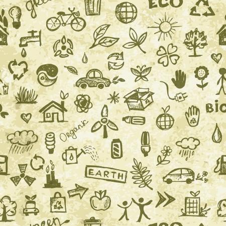 sun protection: Ecolog�a patr�n Seamless concepto en el papel del grunge para su dise�o Vectores