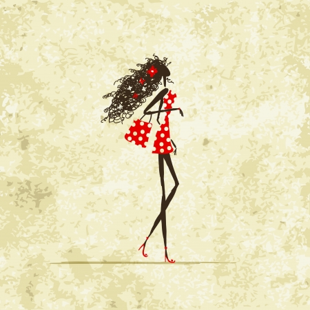 woman slim: Pretty young girl with shopping bag, vintage background Illustration