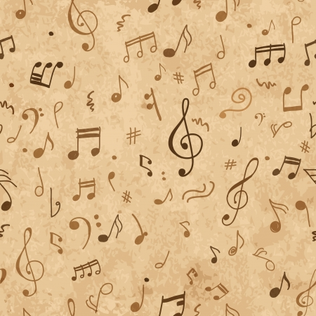 Abstract musical pattern on grunge paper for your design Vector
