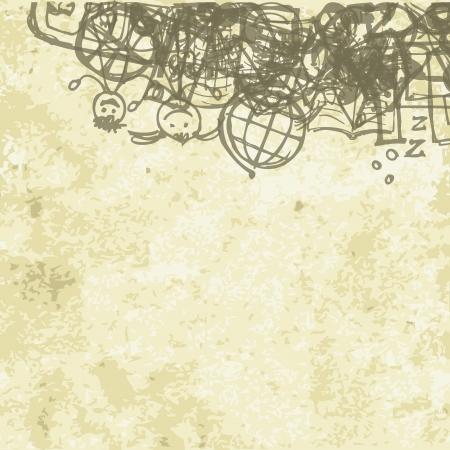 föremål: Skol bakgrund på grunge papper för din design