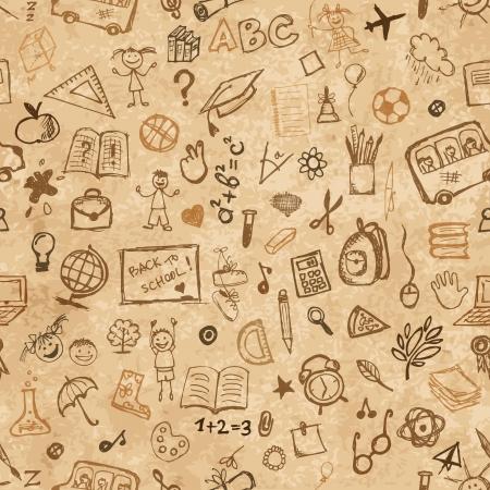 sujeto: Escuela mano dibujado patr�n en papel de grunge para su dise�o