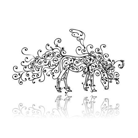 Horse sketch with floral ornament for your design Vector