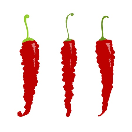 Sketch of red chili peppers for your design Illustration