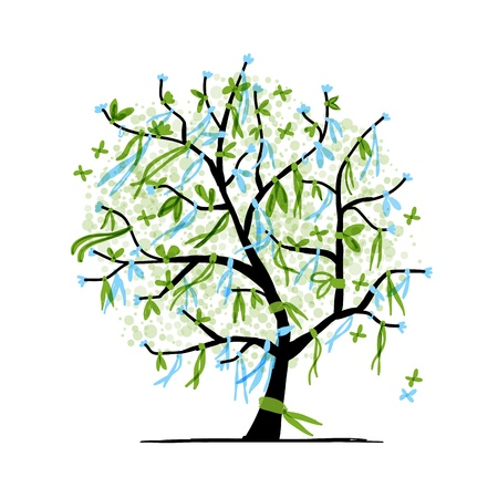 celebrate life: Abstract tree with ribbons for your design