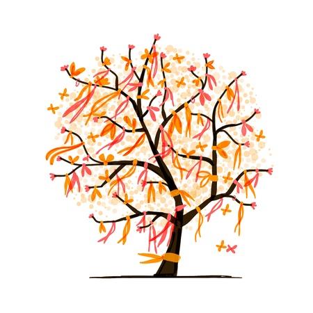 Abstracte boom met linten voor uw ontwerp Vector Illustratie