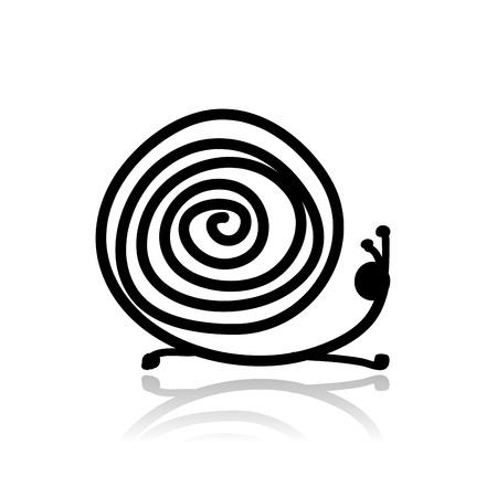 caracol: Bosquejo caracol divertido para su diseño Vectores