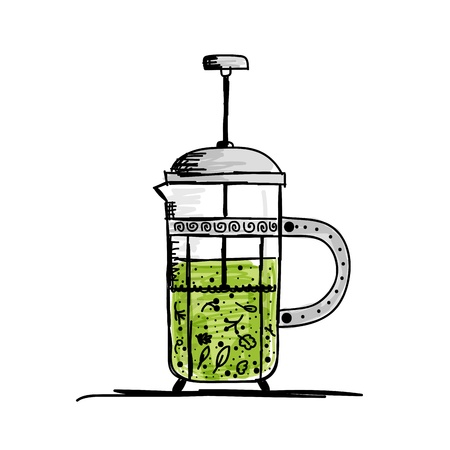 Teapot sketch with green tea for your design Stock Vector - 16125691