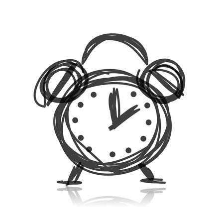 sketch: Schets van alarmpictogram voor uw ontwerp Stock Illustratie