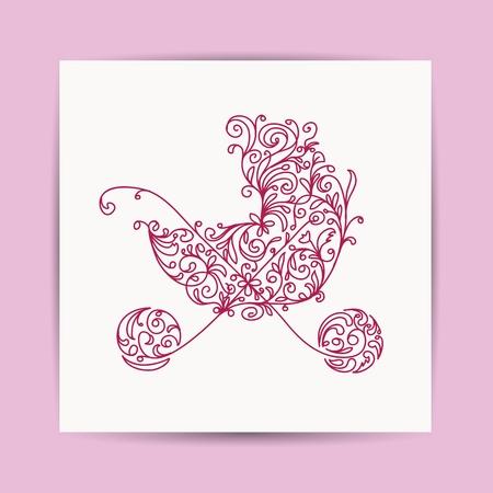 pram: Card with floral pram for your design  Illustration