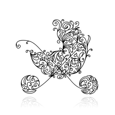 Cochecito de bebé con la decoración floral para su diseño Ilustración de vector