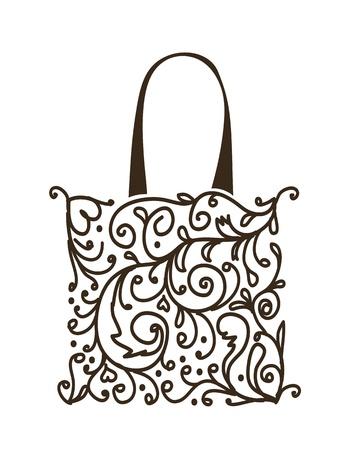 bolsa de regalo: Cesta de dise�o de la bolsa, el ornamento floral