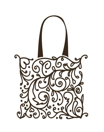 gift bags: Shopping bag design, floral ornament  Illustration