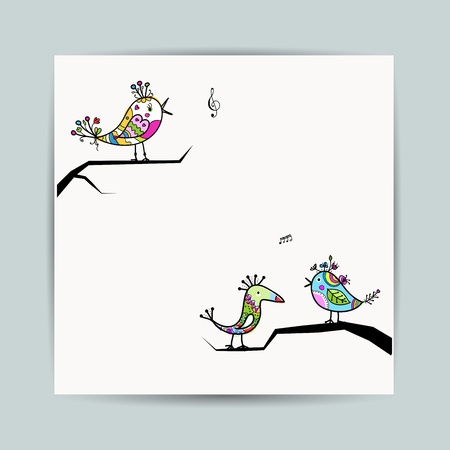 song bird: Design postcard with birds on branches