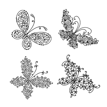 sketch: Set of ornamental butterflies for your design Illustration