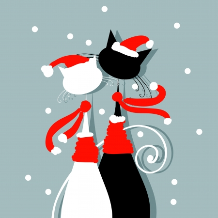 contours: Christmas Eve  Couple of santa cats together Illustration
