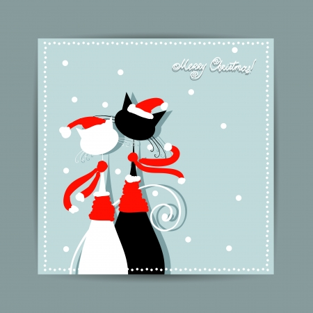 Merry Christmas  Postcard design with couple of santa cats Vector