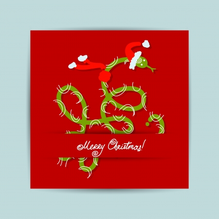 Christmas postcard design with snake, symbol of chinese new year 2013 Vector